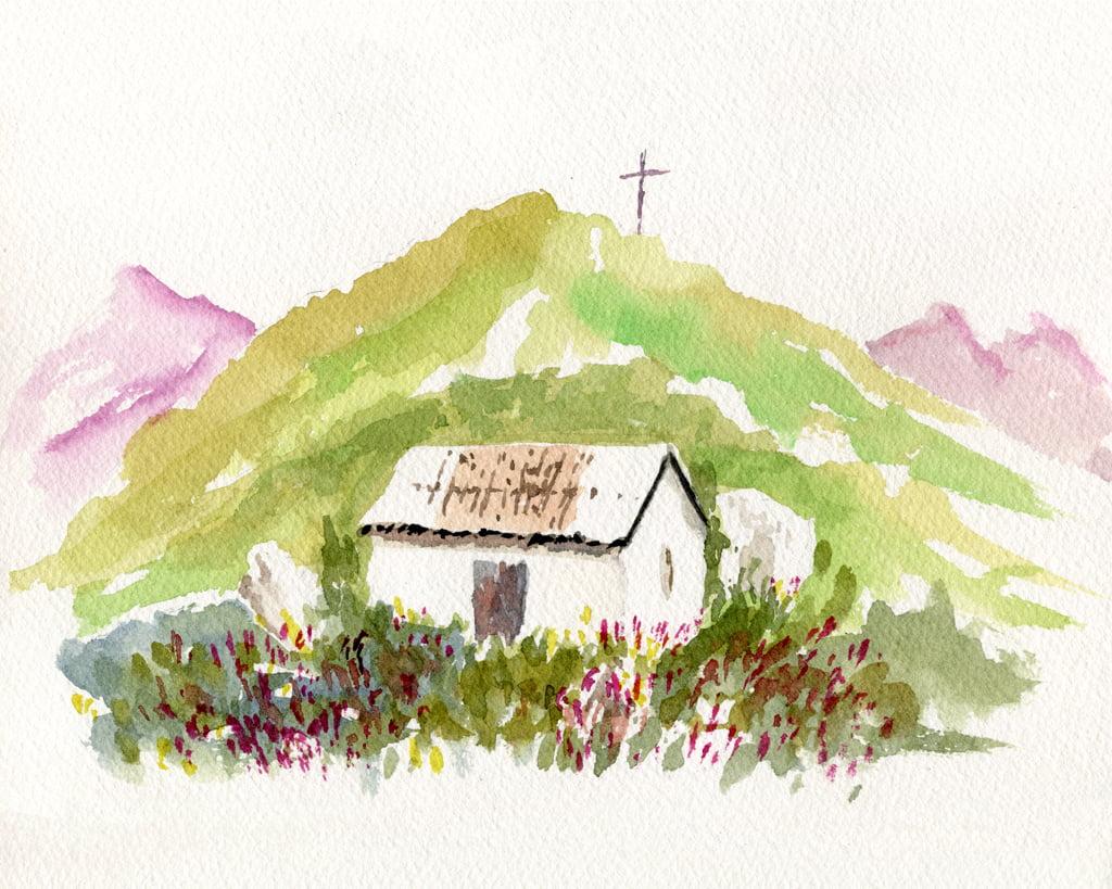 illustrazione ad acquerello della vetta del monte crocione