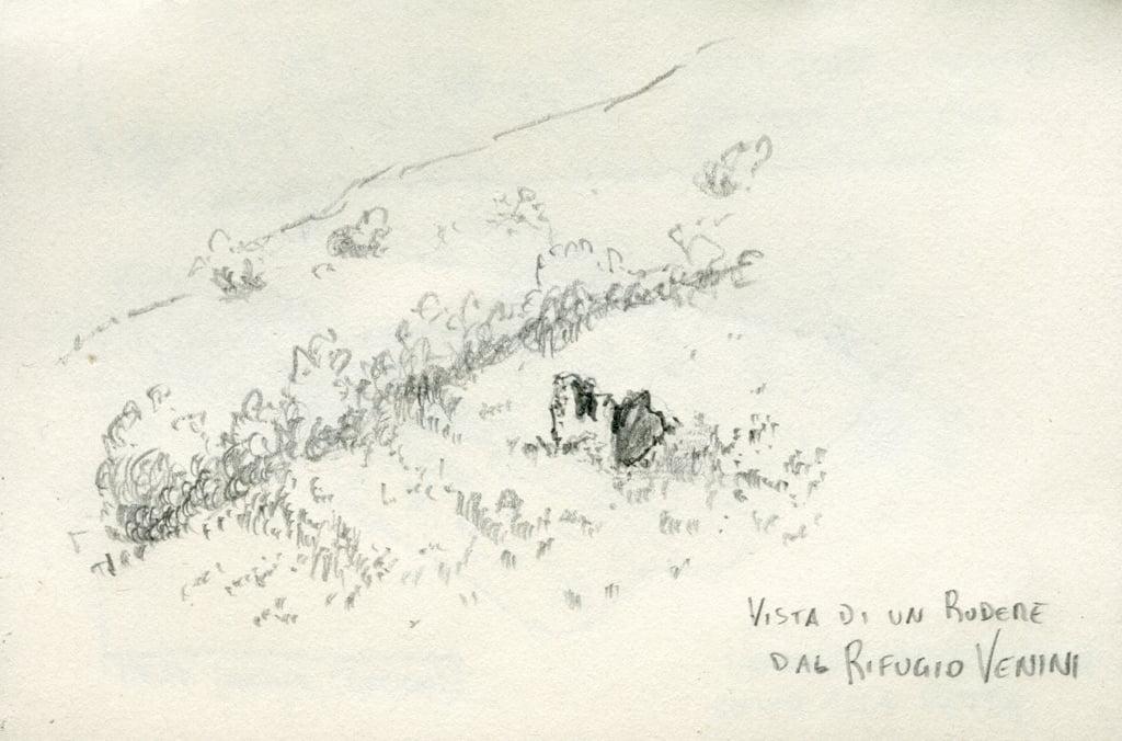 disegno a matita di un rudere vicino al rifugio venini