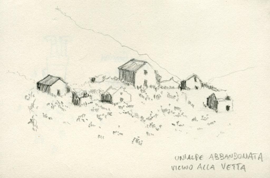 disegno a matita di un'alpe abbandonata sul monte crocione