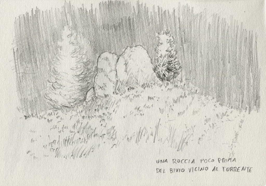 trekking cuneaz, disegno di una roccia sul sentiero