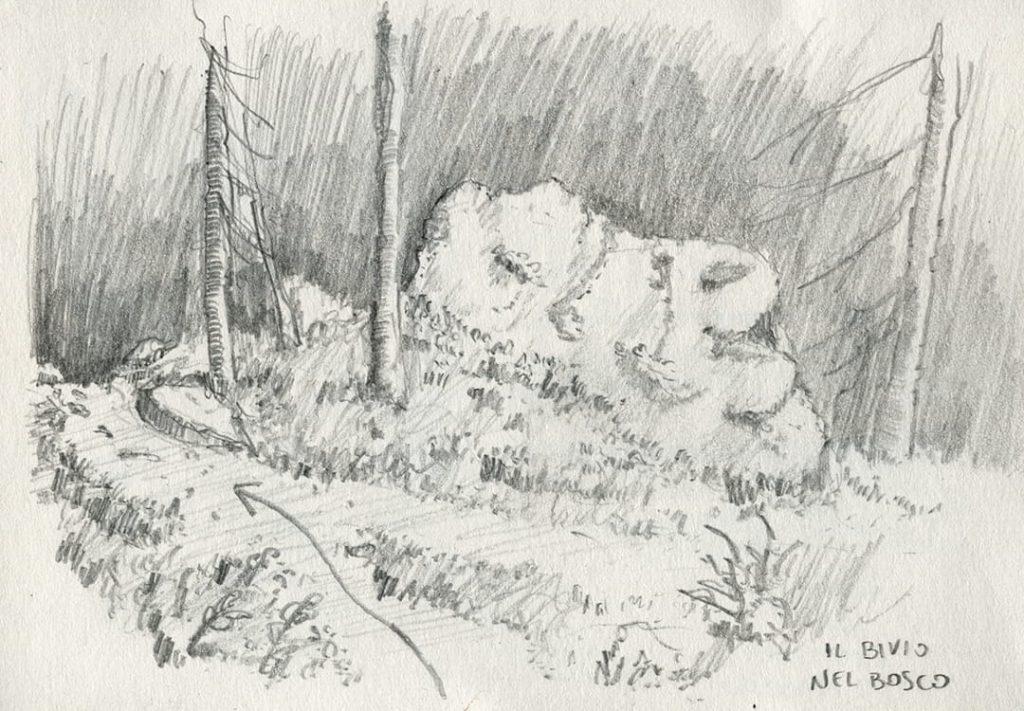 trekking cuneaz, disegno di un bivio del sentiero per mascognaz