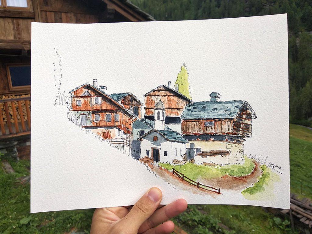 disegno ad acquerello di cuneaz, in valle d'aosta