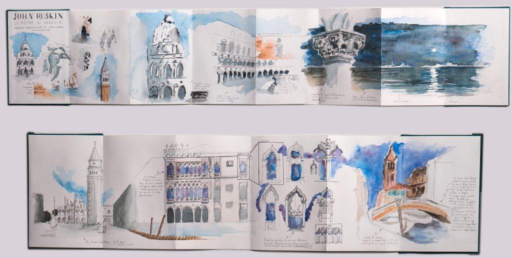 sketchbook con acquerelli e disegni di venezia ispirati a john ruskin