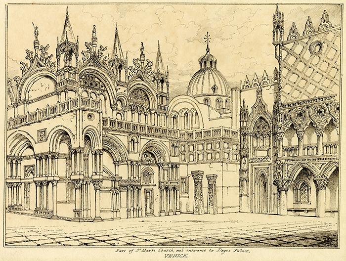 Piazza San Marco a Venezia disegnata da John Ruskin nel 1835, all'età di 16 anni