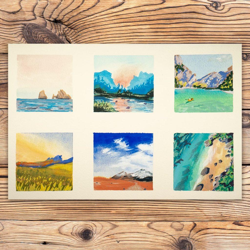 serie di sei piccoli studi di dipinti a gouache, raffiguranti paesaggi