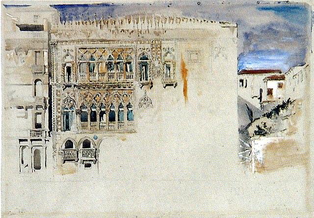John Ruskin, La Cà d'Oro, acquerello da Le Pietre di Venezia