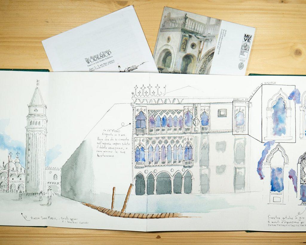 sketch a penna ed acquerello della cà d'oro a venezia