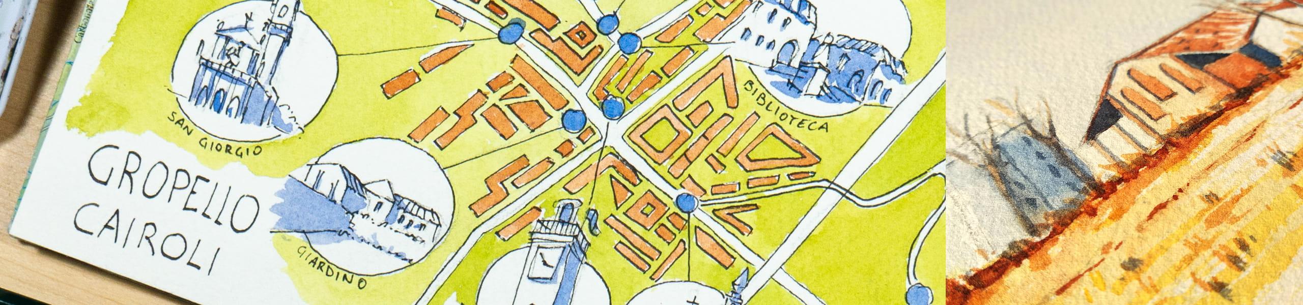 mappa disegnata di gropello cairoli e acquerello di una cascina