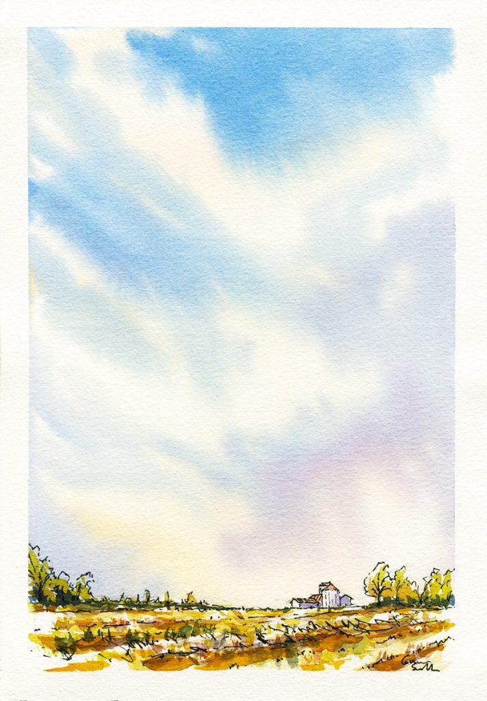 acquerello di un cielo su una cascina lombarda