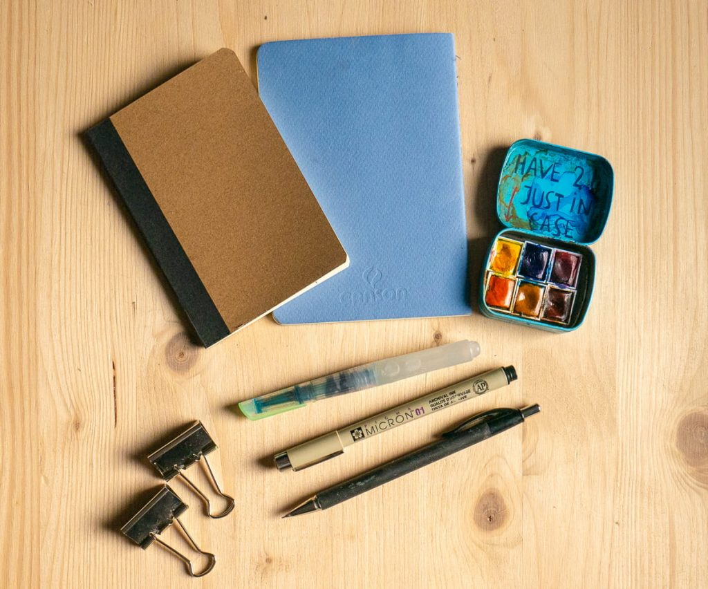 Set minimale per disegno, acquerello e Urban Sketching