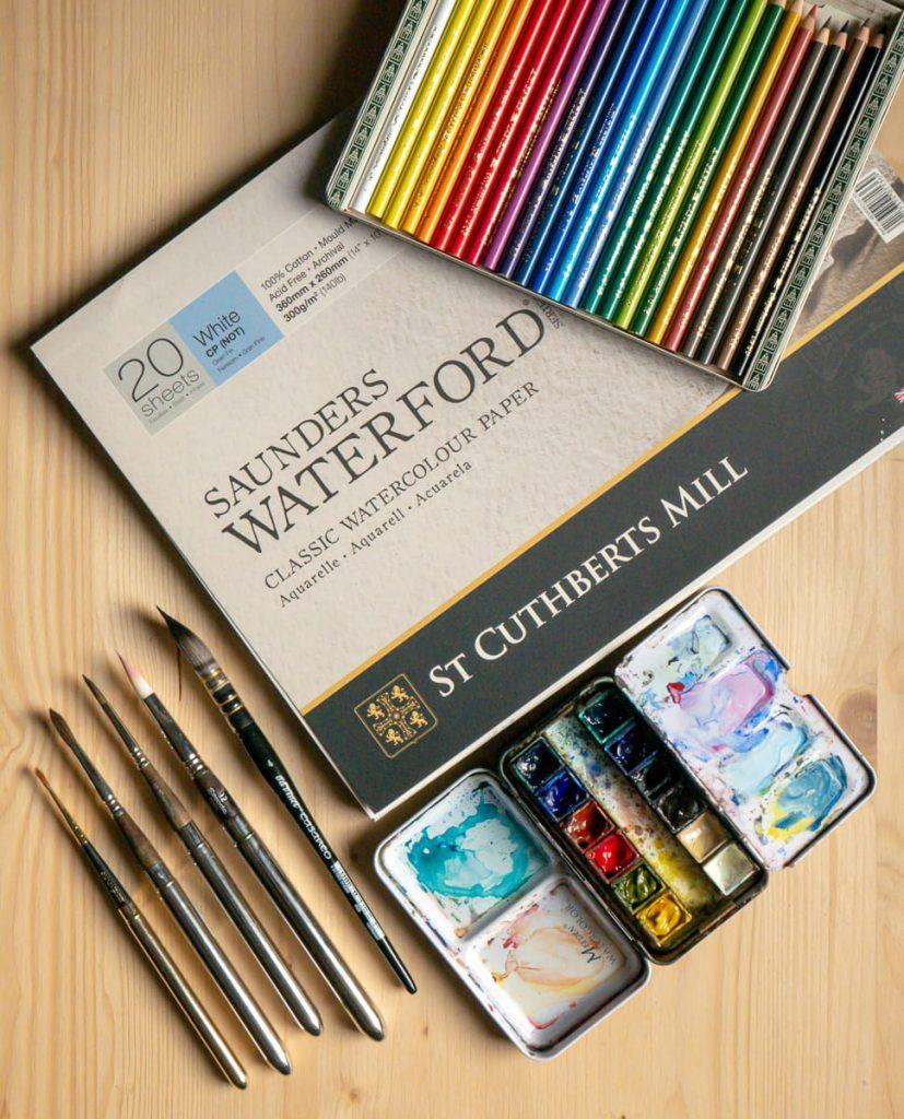 Materiali per dipinti ad acquerello in studio