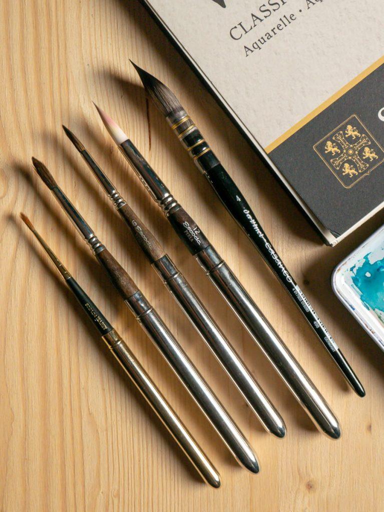 dettaglio di pennelli per acquerello escoda e da vinci casaneo